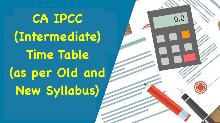 CA IPCC Time Table New