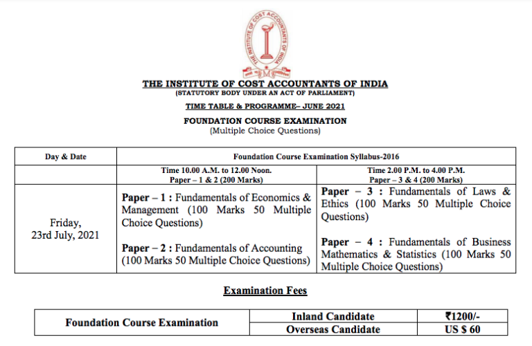 CMA Foundation Time Table June 2021