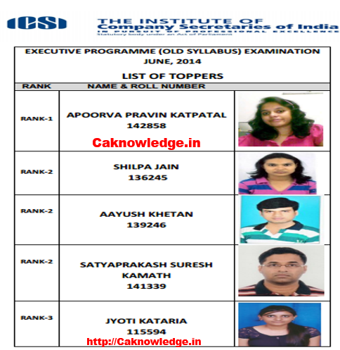 CS Executive Toppers June 2014 old Syllabus
