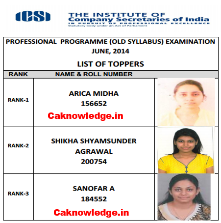 CS Professional Toppers June 2014