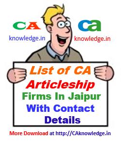 CA Articleship Training Firms in Jaipur