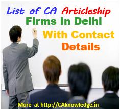 CA Articleship Firms in Delhi List 1