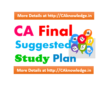 CA Final Suggested Study Plan