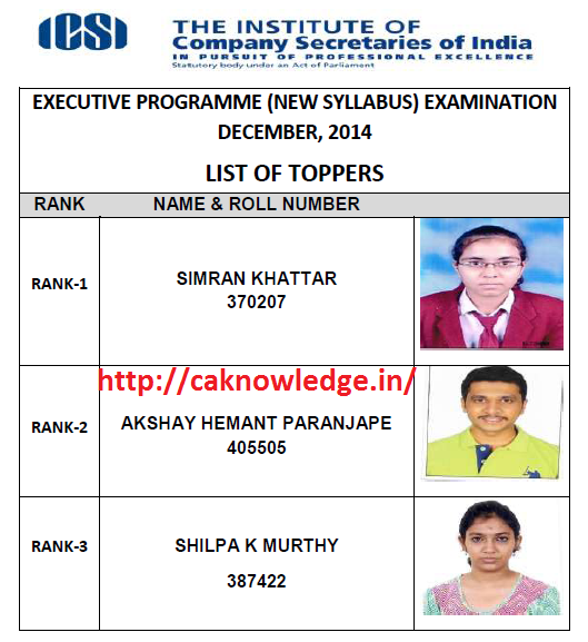 CS Executive Dec 2014 Toppers Lisit New Syllabus