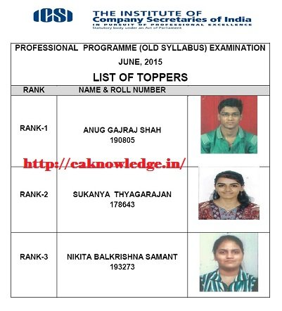 CS Professsional June 2015 Toppers Old Syllabus