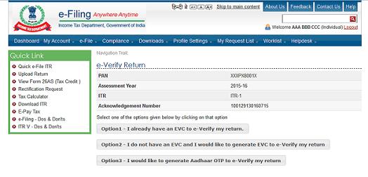 E-Verification of ITR EVC Options