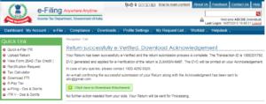 E-Verification of ITR EVC Success Message