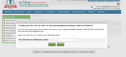 E-Verification of ITR by Registered Mobile No