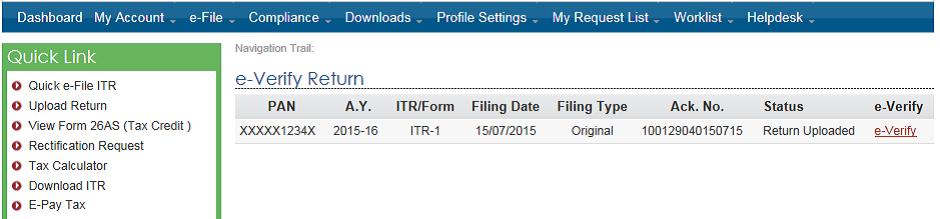 E-Verification of ITR e-Verify