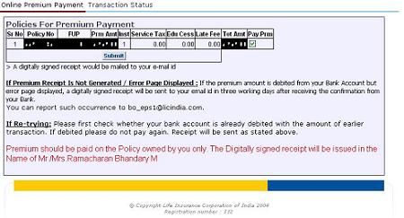 LIC Premium Payment 2 CAknowledge
