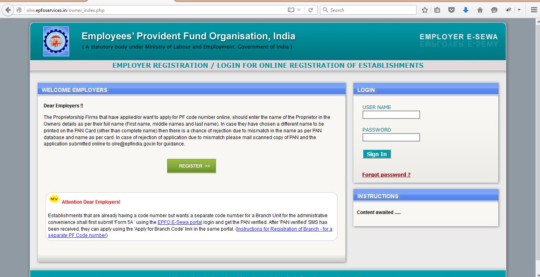 PF Registration for Employer
