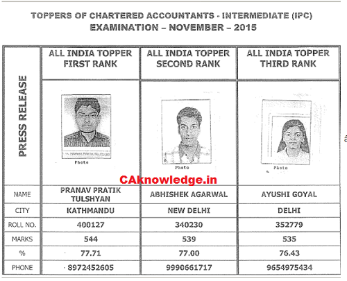 CA IPCC Toppers Nov 2015 CAknowledge