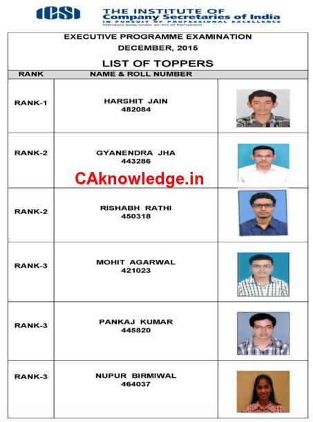 CS Executive Dec 2015 Top 3 Rank Holders