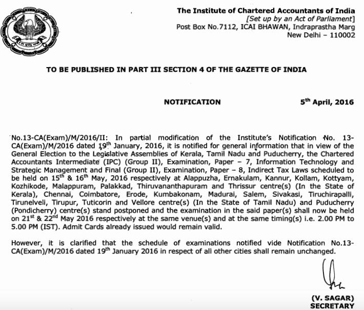 CA IPCC ITSM Exam Postponed May 2016 – Kerala, TN, Puducherry