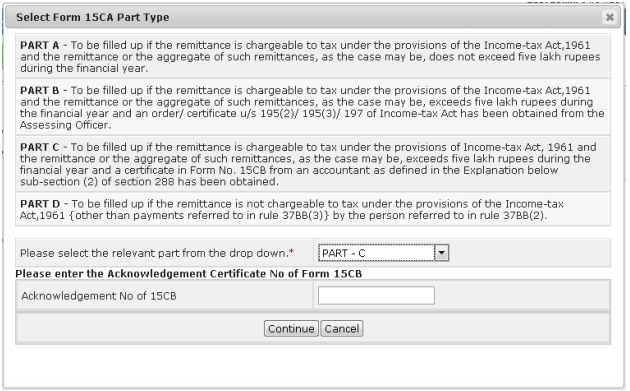 Registration process for Filing Form 15CA