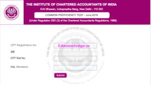 CPT Marksheet or Result Card June 2016