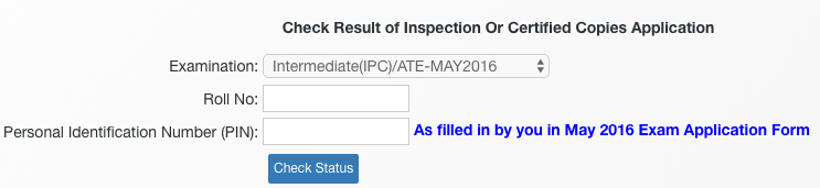 CA IPCC Inspection Or Certified Copies Result