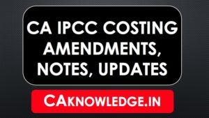 CA IPCC Costing Notes, Amendments, Updates