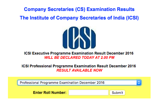 CS Professional Result Dec 2016