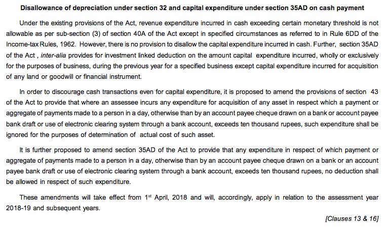 Disallowance of depreciation u:s 32 & capital expenditure u:s 35AD