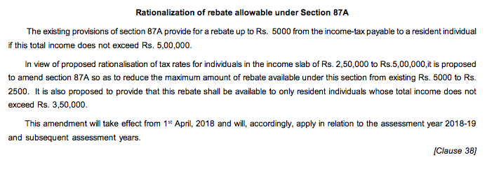 Rebate under Section 87A reduced to Rs 2500 for AY 2018-19