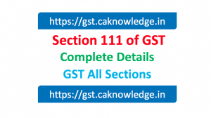 Section 111 of GST
