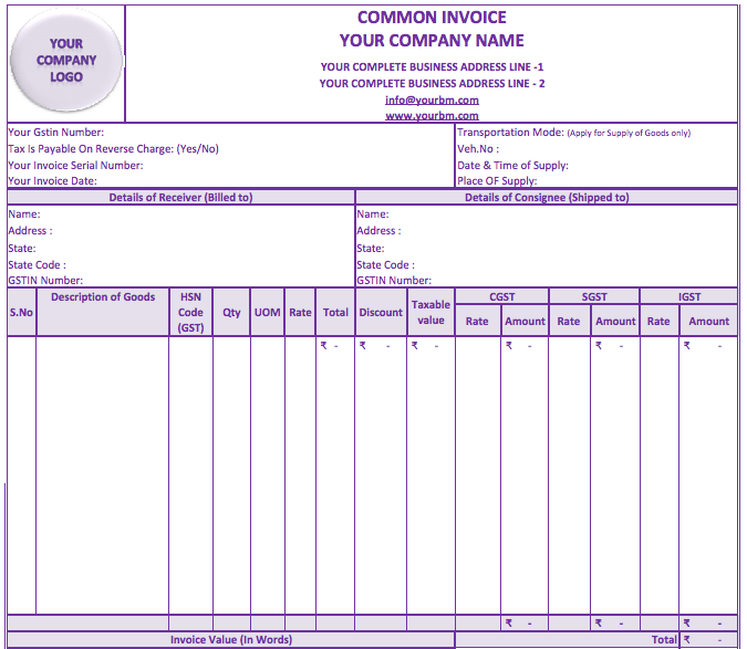 GST Invoice Format Download Invoice Format Under GST Regime – Sample Gst Invoice