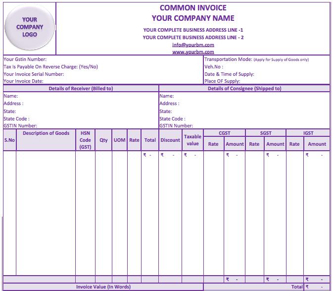 Invoice Format Under GST