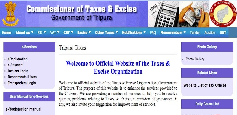 GST Registration Procedure for Existing Tripura VAT Dealers