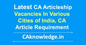 CA Articleship Vacancy