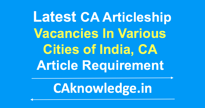 CA Articleship Vacancies