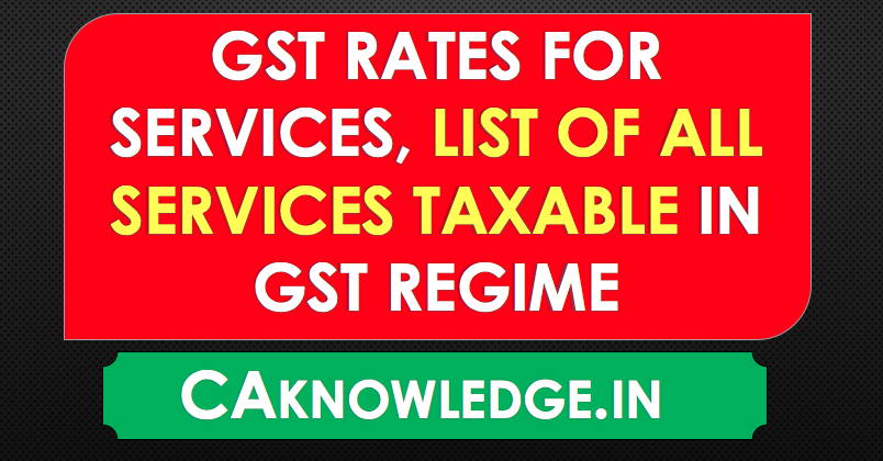 GST Rates for Services