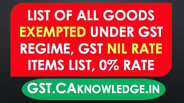 List of Goods Exempted under GST Regime