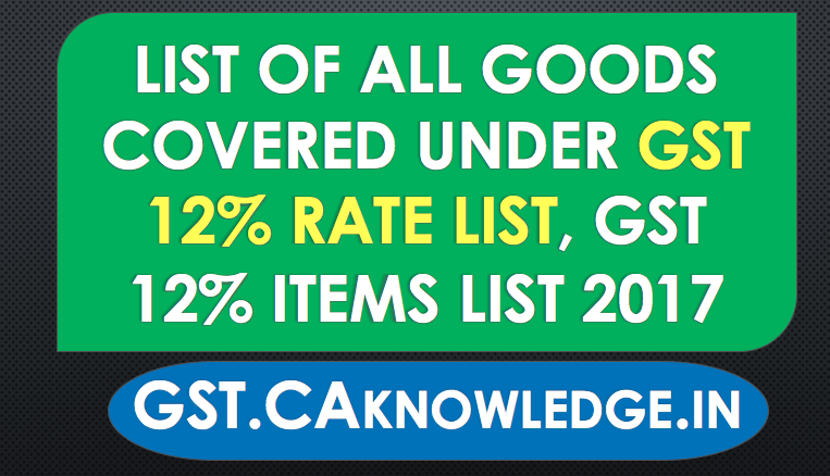 List of all Goods Covered under GST 12% Rate list