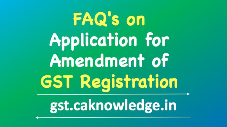 Amendment of GST Registration
