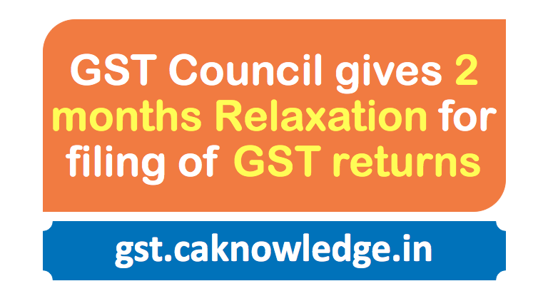 GST Council gives 2 months relaxation for filing of GST returns
