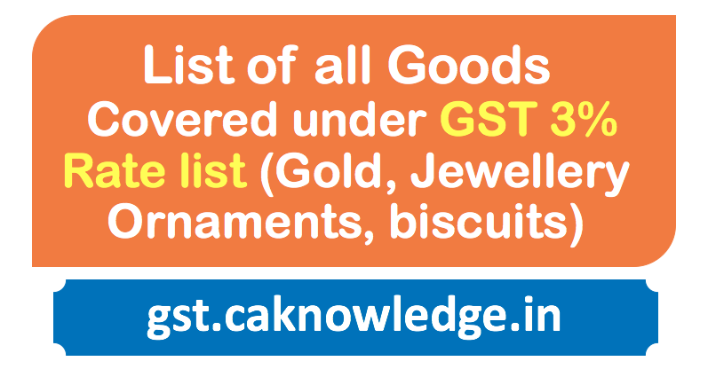 List of all Goods Covered under GST 3% Rate list