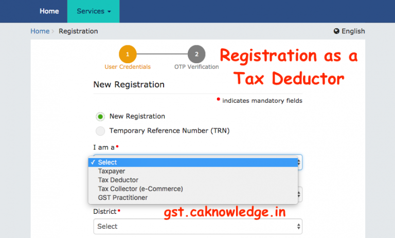 Registration as a Tax Deductor