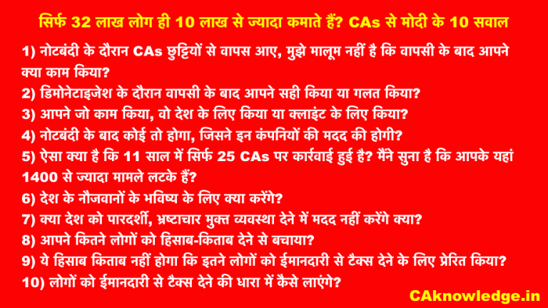 CAs से मोदी के 10 सवाल
