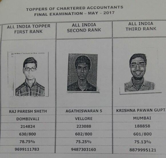 CA Final Toppers May 2017