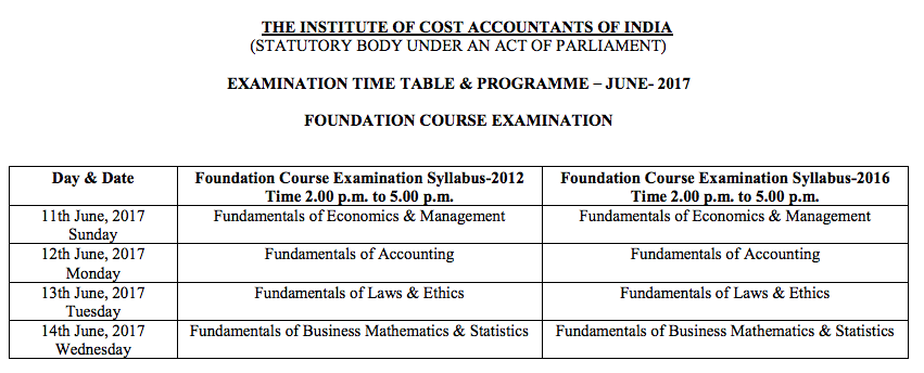 CMA Foundation Time Table