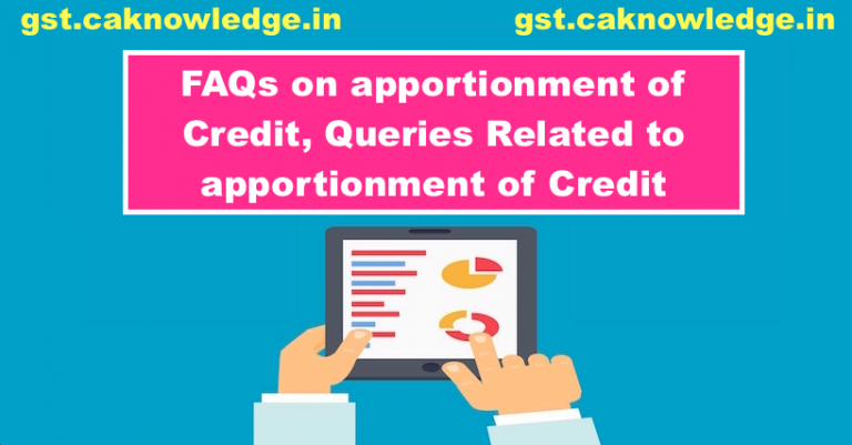 FAQs on apportionment of Credit