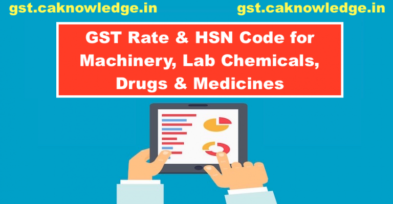 GST Rate & HSN Code for Machinery, Lab Chemicals, Drugs & Medicines