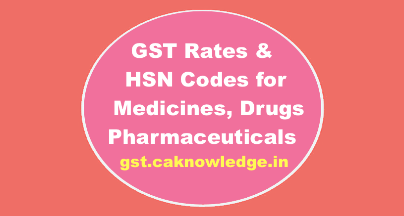 GST Rates & HSN Codes forMedicines