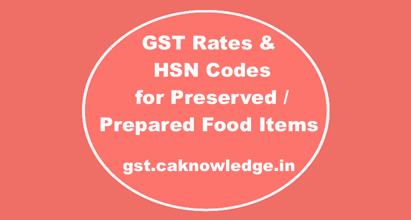GST Rates & HSN Codes for Preserved : Prepared Food Items