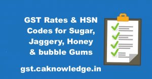 GST Rates & HSN Codes for Sugar, Jaggery, Honey & bubble Gums