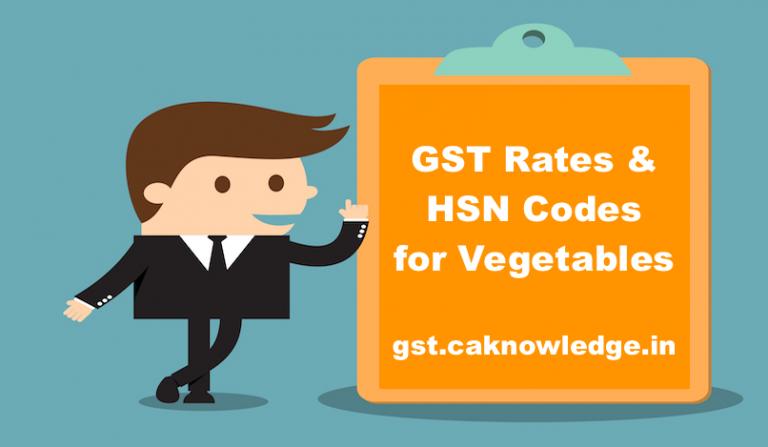 GST Rates & HSN Codes for Vegetables