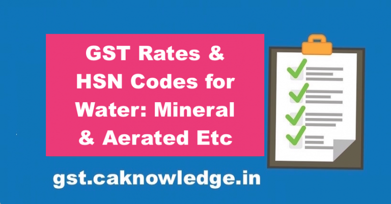 GST Rates HSN Codes for Water