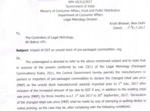 Impact of GST on unsold stock of pre packaged commodities