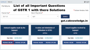 List of all Important Questions of GSTR 1 with there Solutions